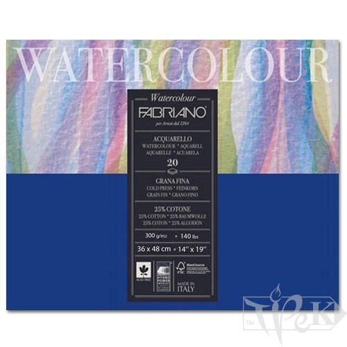 73613648 Альбом для акварелі Watercolour 36х48 см 300 г/м.кв. 20 аркушів склейка з 4 сторін Fabriano Італія