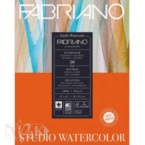 19503005 Альбом для акварелі Studio 28х35,6 см 300 г/м.кв. 50 аркушів Fabriano Італія