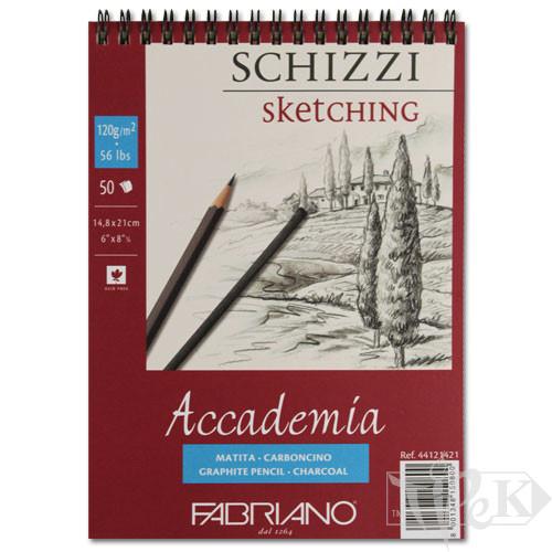 44121421 Альбом для графіки на спіралі Accademia А5 (14,8х21 см) 120 г/м.кв. 50 аркушів Fabriano Італія