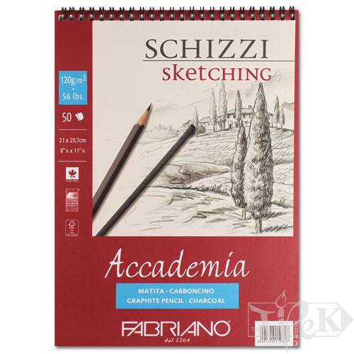 44122129 Альбом для графіки на спіралі Accademia А4 (21х29,7 см) 120 г/м.кв. 50 аркушів Fabriano Італія