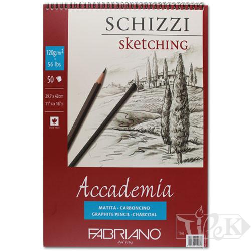 44122942 Альбом для графіки на спіралі Accademia А3 (29,7х42 см) 120 г/м.кв. 50 аркушів Fabriano Італія