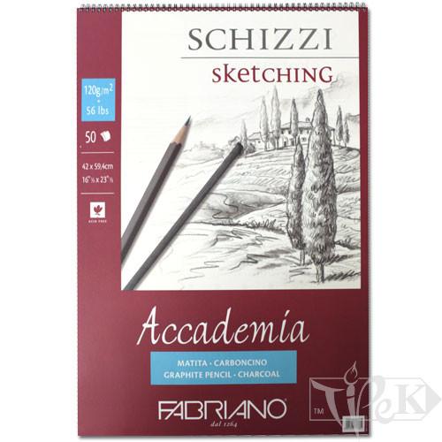 44124259 Альбом для графики на спирали Accademia А2 (42х59,4 см) 120 г/м.кв. 50 листов Fabriano Италия
