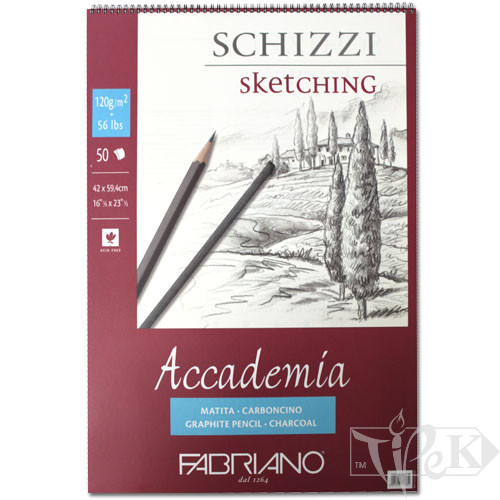 44124259 Альбом для графіки на спіралі Accademia А2 (42х59,4 см) 120 г/м.кв. 50 аркушів Fabriano Італія