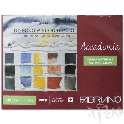 42402735 Альбом для вологих технік склейка Accademia 27х35 см 240 г/м.кв. 100 аркушів Fabriano Італія