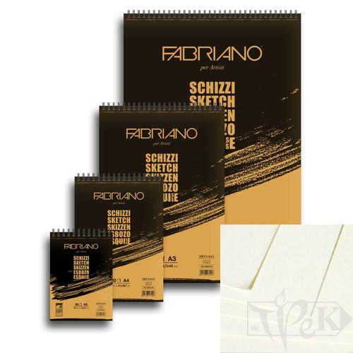 56614821 Блокнот для ескізів Schizzi А5 (14,8х21 см) 90 г/м.кв. 60 аркушів на спіралі Fabriano Італія
