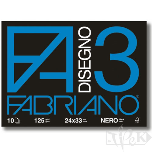 04001017 Альбом для пастелі Disegno 3 nero 24х33 см 125 г/м.кв. 10 аркушів Fabriano Італія