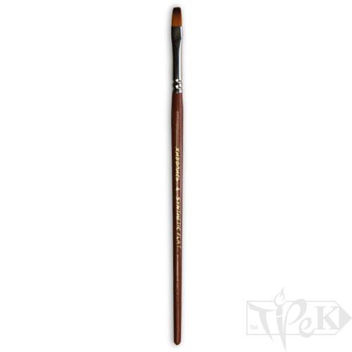 Кисточка «Живопись» 1122 Синтетика плоская № 04 короткая ручка рыжий ворс