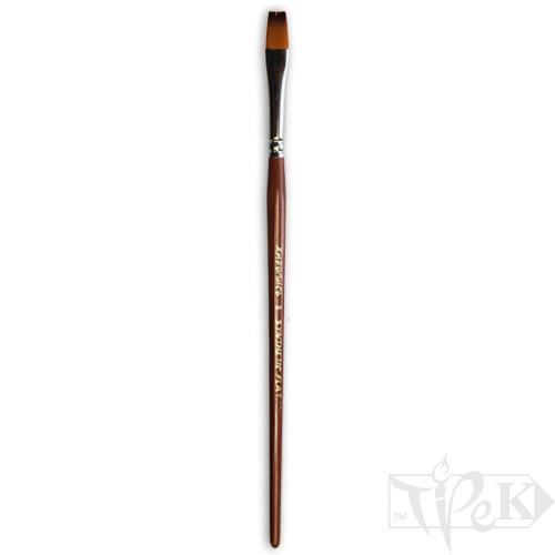 Кисточка «Живопись» 1122 Синтетика плоская № 08 короткая ручка рыжий ворс