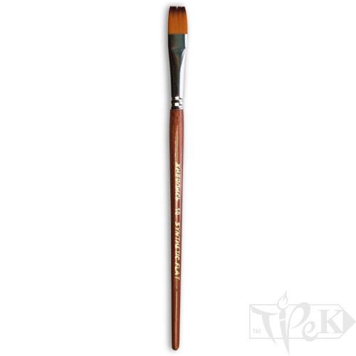 Кисточка «Живопись» 1122 Синтетика плоская № 10 короткая ручка рыжий ворс