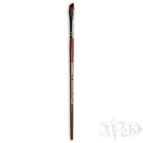 Кисточка «Живопись» 1126 Синтетика скошенная № 0 короткая ручка рыжий ворс