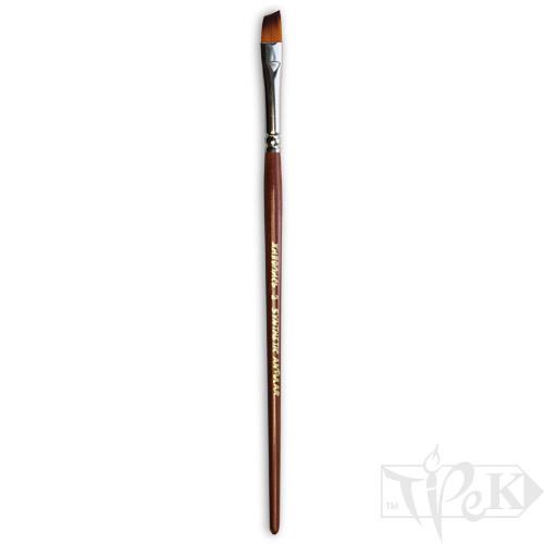 Кисточка «Живопись» 1126 Синтетика скошенная № 02 короткая ручка рыжий ворс