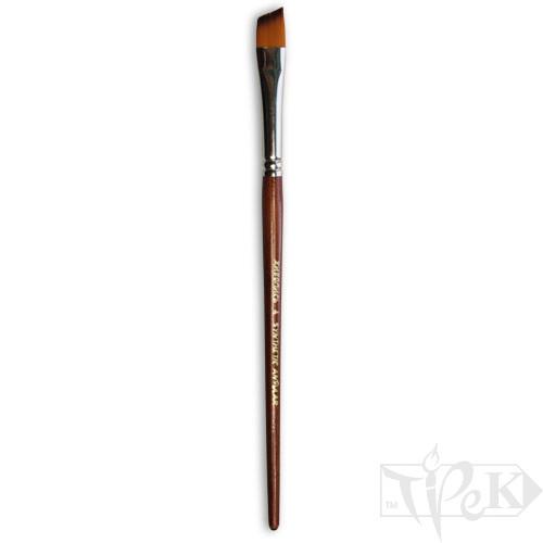 Кисточка «Живопись» 1126 Синтетика скошенная № 04 короткая ручка рыжий ворс