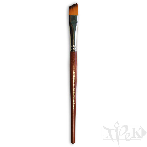 Кисточка «Живопись» 1126 Синтетика скошенная № 06 короткая ручка рыжий ворс