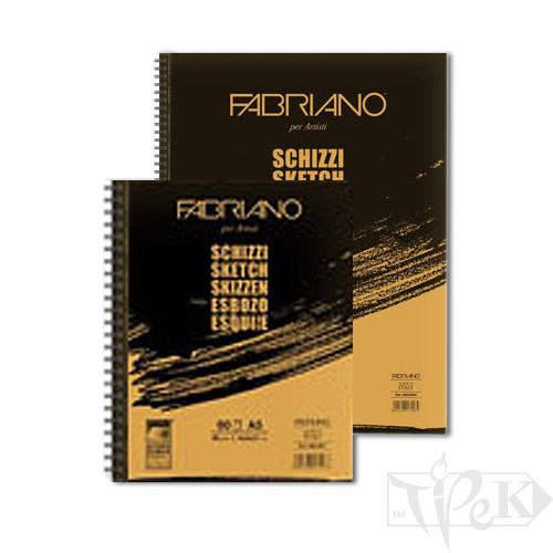 51482166 Блокнот для ескізів Schizzi А5 (14,8х21 см) 90 г/м.кв. 60 аркушів на спіралі по довгій стороні Fabriano Італія