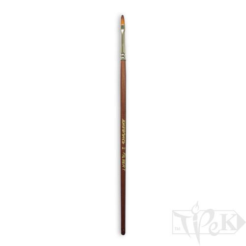 Кисточка «Живопись» 1127 Синтетика овальная № 02 длинная ручка рыжий ворс