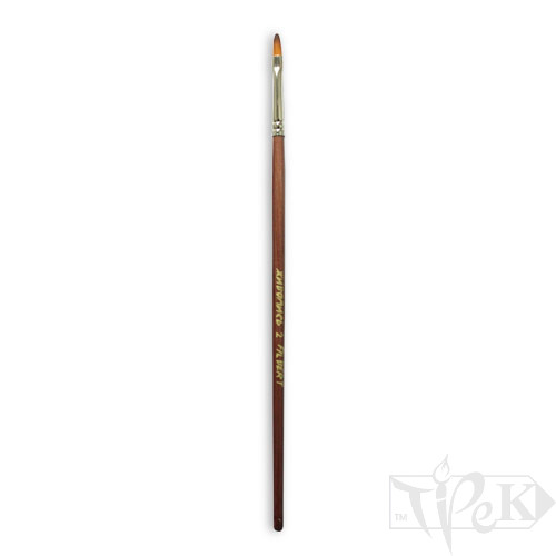 Пензлик «Живопис» 1127 Синтетика овальна № 02 довга ручка рудий ворс