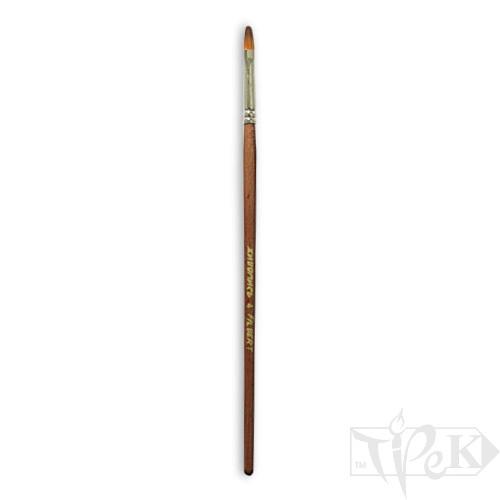 Кисточка «Живопись» 1127 Синтетика овальная № 04 длинная ручка рыжий ворс