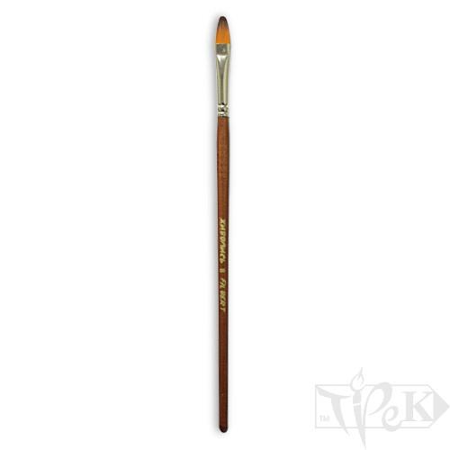 Кисточка «Живопись» 1127 Синтетика овальная № 08 длинная ручка рыжий ворс