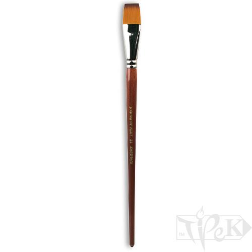 Пензлик «Живопис» 1112 Синтетика плоска № 24 довга ручка рудий ворс