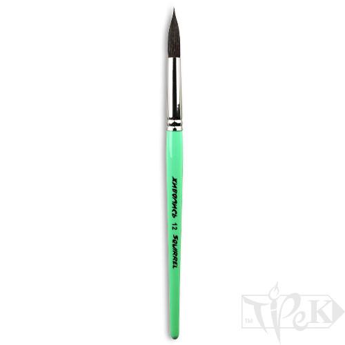Пензлик «Живопис» 4121 Білка кругла № 12 коротка ручка чорний ворс