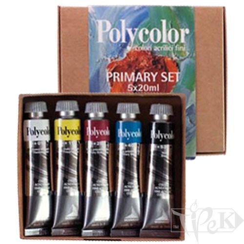 Набір акрилових фарб Polycolor 049 5 кольорів по 20 мл Maimeri Італія