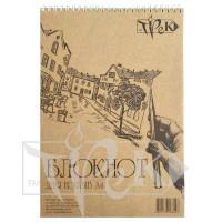 Блокнот для ескізів А4 (21х29,7 см) на спіралі папір Крафт 70 г/м.кв. 50 аркушів «Трек» Україна