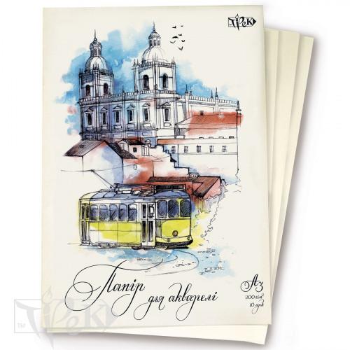 Папка акварельная А3 (29,7х42 см) фактурная бумага 200 г/м.кв. 10 листов «Трек» Украина