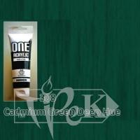 Акриловая краска ONE 120 мл 308 кадмий зеленый темный (имитация) Maimeri Италия
