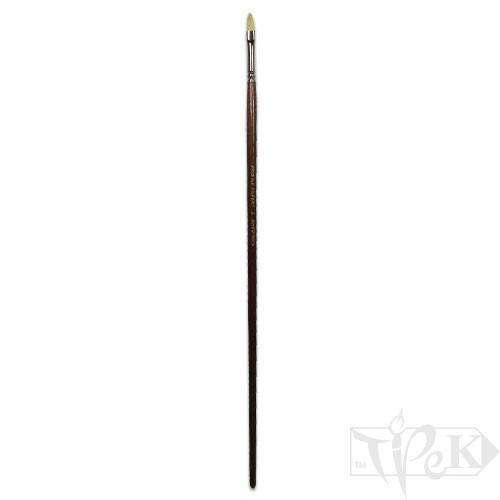 Кисточка «Живопись» 2121 Щетина овальная № 02 длинная ручка белый ворс
