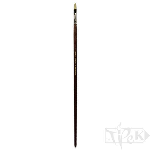 Кисточка «Живопись» 2121 Щетина овальная № 04 длинная ручка белый ворс
