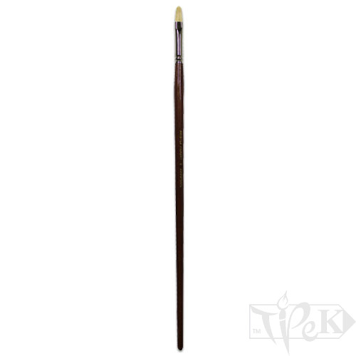 Пензлик «Живопис» 2121 Щетина овальна № 06 довга ручка білий ворс