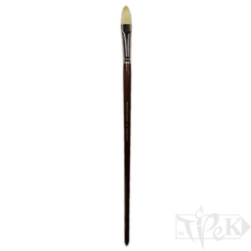 Пензлик «Живопис» 2121 Щетина овальна № 16 довга ручка білий ворс