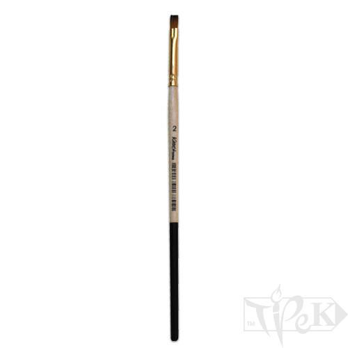 Кисточка «Kissточка» 72020 Синтетика плоская № 02 короткая ручка рыжий ворс