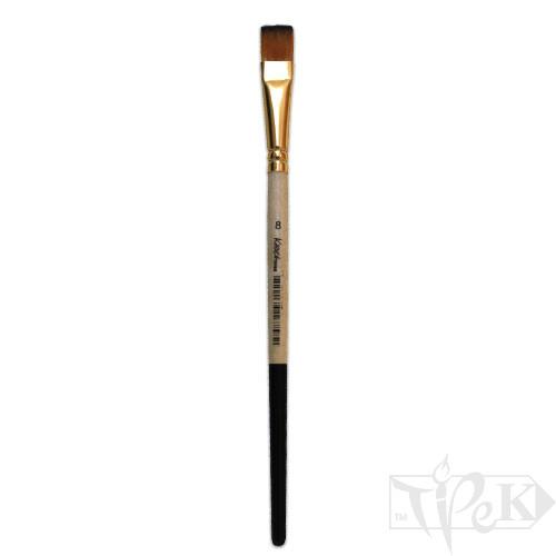 Кисточка «Kissточка» 72020 Синтетика плоская № 08 короткая ручка рыжий ворс