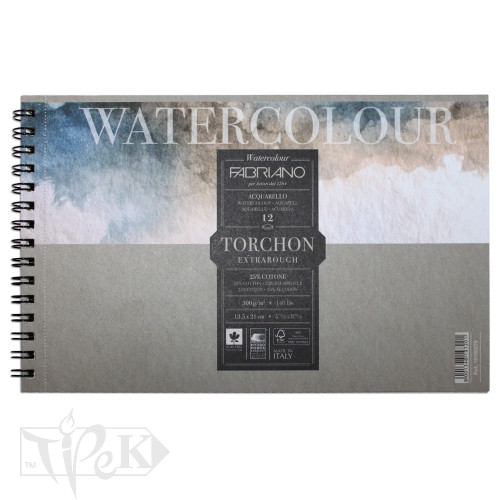 19100279 Альбом для акварели Watercolour Torchon Extra Rough 13,5х21 см 300 г/м.кв. 12 листов на спирали Fabriano Италия