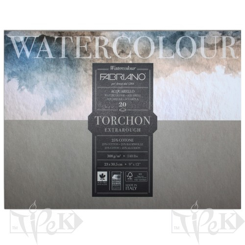 19100277 Альбом для акварелі Watercolour Torchon Extra Rough 30,5х45,5 см 300 г/м.кв. 20 аркушів Fabriano Італія