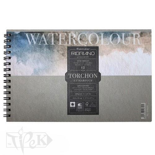 19100280 Альбом для акварели Watercolour Torchon Extra Rough А4 (21х29,7 см) 300 г/м.кв. 12 листов на спирали Fabriano Италия