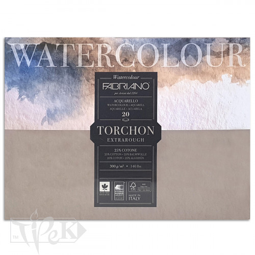 19100278 Альбом для акварелі Watercolour Torchon Extra Rough 35,5х51 см 300 г/м.кв. 20 аркушів Fabriano Італія