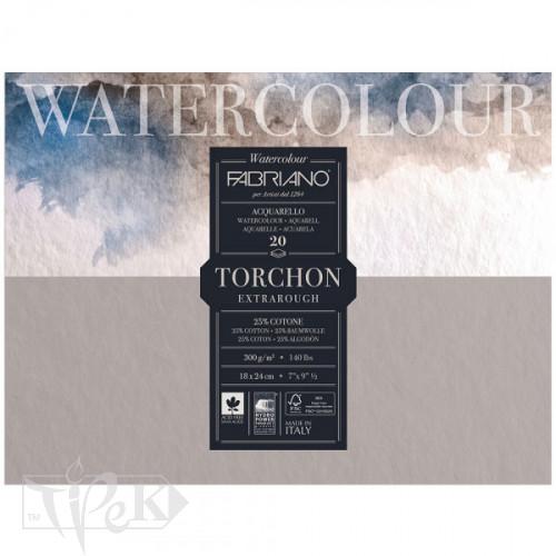19100275 Альбом для акварели Watercolour Torchon Extra Rough 18х24 см 300 г/м.кв. 20 листов склейка с 4 сторон Fabriano Италия