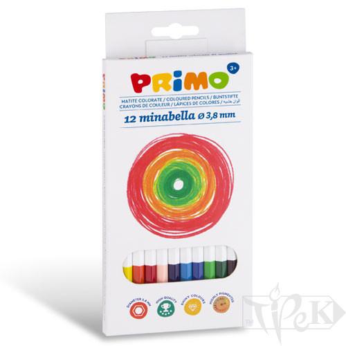 Набір кольорових олівців Minabella 12 кольорів в картонній коробці Primo Італія