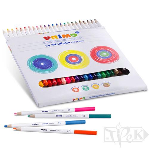 Набір кольорових олівців Minabella 24 кольори в картонній коробці Primo Італія