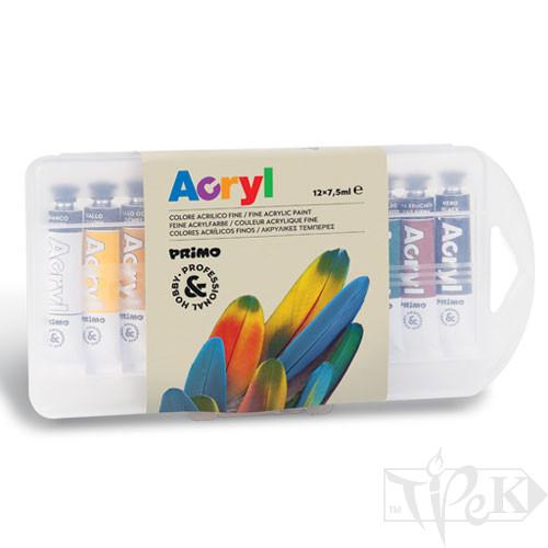 Набір акрилових фарб 12 кольорів по 7,5 мл в пластиковому боксі Primo Італія