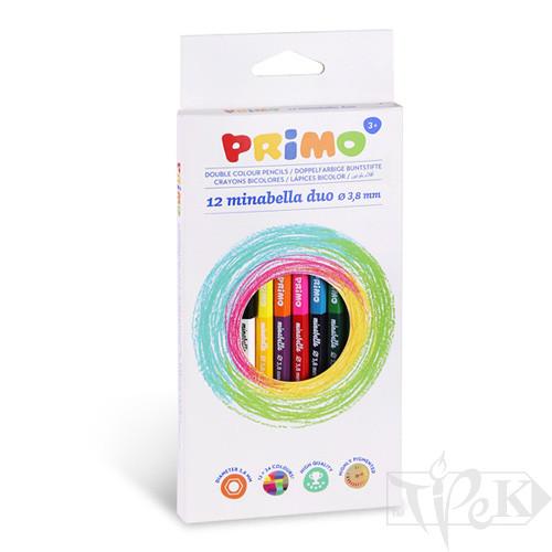 Набір кольорових олівців двосторонніх Minabella DUO 12 кольорів в картонній коробці Primo Італія
