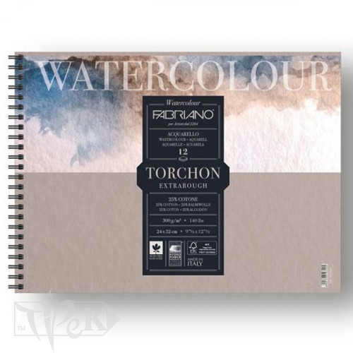 19100281 Альбом для акварели Watercolour Torchon Extra Rough 24х32 см 300 г/м.кв. 12 листов на спирали Fabriano Италия