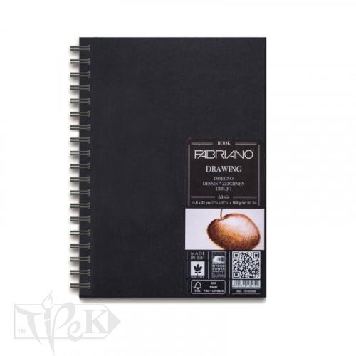 41231421 Альбом для ескізів Drawing Book А5 (14,8х21 см) 160 г/м.кв. 60 аркушів в твердій обкладинці на спіралі по довгій стороні Fabriano Італія