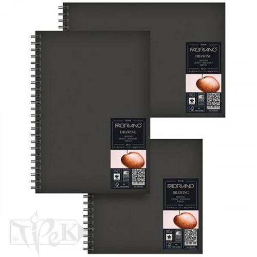 41232129 Альбом для ескізів Drawing Book А4 (21х29,7 см) 160 г/м.кв. 60 аркушів в твердій обкладинці на спіралі по довгій стороні Fabriano Італія