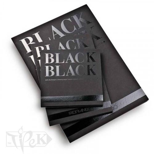 19100389 Альбом для ескізів Black Black 20х20 см 300 г/м.кв. 20 аркушів чорного паперу склейка Fabriano Італія