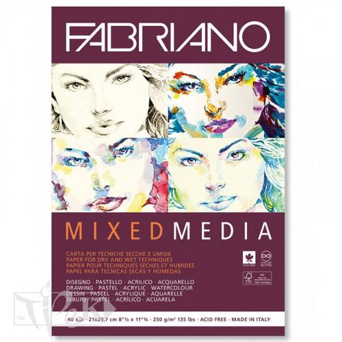 19100502 Альбом для малювання Mixed Media А5 (14,8х21 см) 250 г/м.кв. 40 аркушів білого паперу склейка Fabriano Італія