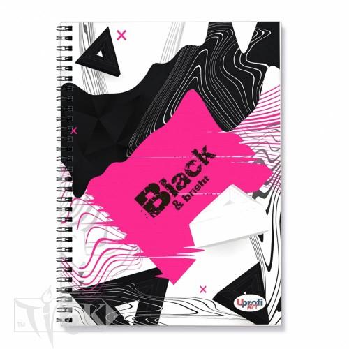 Блокнот «Black & Bright» pink Office А5 (14,8х21 см) 70 г/м.кв. 80 листов на спирали Profiplan