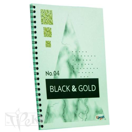 Блокнот «Black & Gold» rectangle Office А5 (14,8х21 см) 70 г/м.кв. 80 аркушів на спіралі Profiplan
